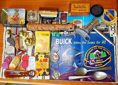 Junk Drawer Lot Mens Vintage Casino, Patches Worlds Fair Playing Cards Pen Knife