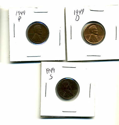 1949 P,d,s Wheat Pennies Lincoln Cents Circulated 2X2 Flips 3 Coin Pds Set#274
