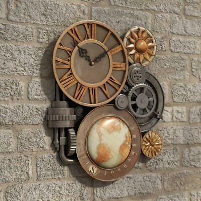 WALL CLOCK Oakland Gears Sculptural 3D Sculpted Design Home Decor Vintage Retro