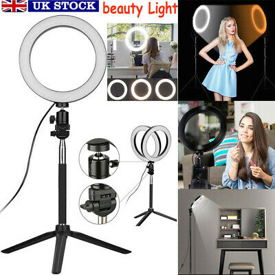 LED Ring Light w/ Stand Dimmable LED Lighting Kit For Makeup Youtube Live Selfie