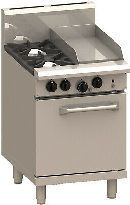 LUUS Professional 2 Burner 300mm Griddle & Oven Pilots Flame Fail RS-2B3P-P LPG