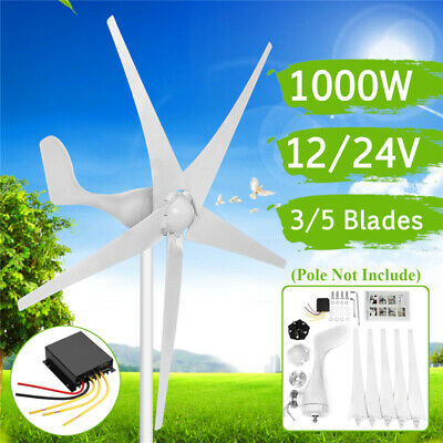1000W Wind Generator DC 12/24V 3/5 Blades Wind Turbine With Charge Controller