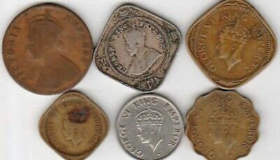 6 different world coins from BRITISH INDIA