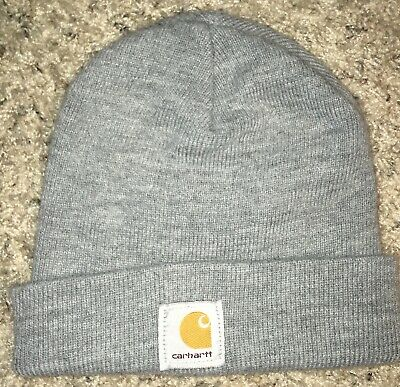 CARHARTT Hat Men s One Size Rolled Knit Heather Gray Watch Cap Beanie A33 a7f9b066c9f0