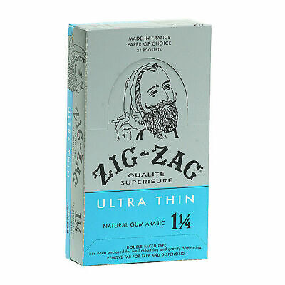 Zig-Zag Ultra Thin 1 1/4 1.25 - BOX 24 PACKS - Zig Zag Rolling Papers Tobacco