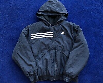 VINTAGE ADIDAS JACKET Puffer Blue Mens Size Large 90s Three