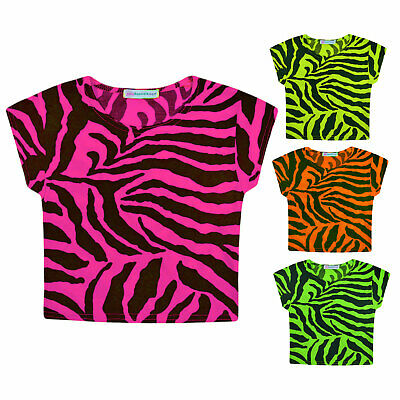 Girls Crop Top New Kids Short Sleeved Stretch Zebra Print T-shirt Age 5-13 Years