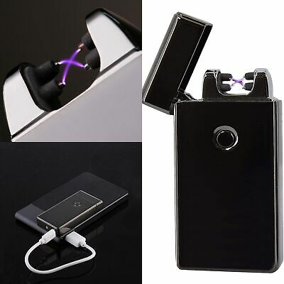 Electric Rechargeable Lighter Double Arc USB Windproof Flame less Plasma Torch