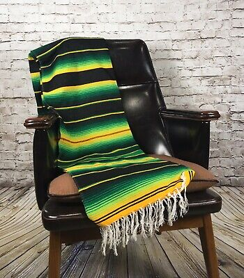 Green Sarape Serape Mexican Blanket Saltillo Southwestern 5' x 7' Yoga Throw