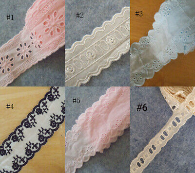 "1"" - 2.5"" Wide 6 Colors Eyelet Cotton Lace with Embroidered Flower Trim zhb26"