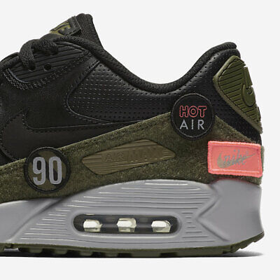 separation shoes db15f 50cdf NEW Nike Air Max 90 HAL Mens 9.5 Shoes Black Olive Green Velcro Patch AH9974 -