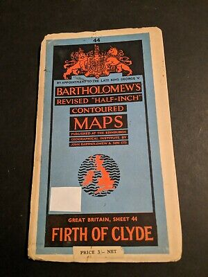 vintage BARTHOLOMEWS MAP PAPER SHEET 44 FIRTH OF CLYDE