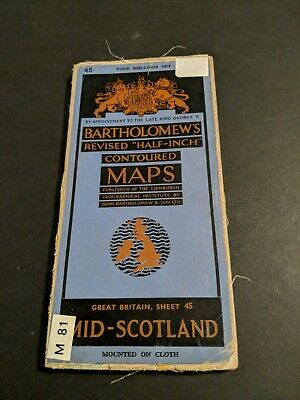vintage BARTHOLOMEWS MAP CLOTH SHEET 45 MID SCOTLAND