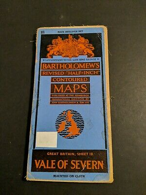 vintage BARTHOLOMEWS MAP CLOTH SHEET 18 VALE OF SEVERN