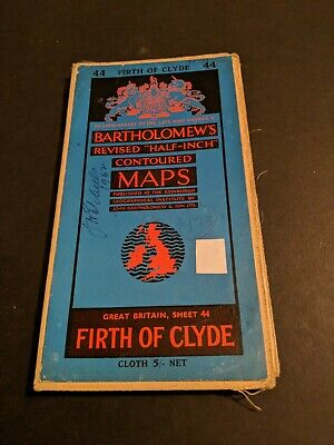 vintage BARTHOLOMEWS MAP CLOTH SHEET 44 FIRTH OF CLYDE