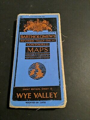 vintage BARTHOLOMEWS MAP CLOTH SHEET 13 WYE VALLEY ,