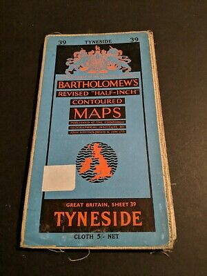 vintage BARTHOLOMEWS MAP CLOTH SHEET 39 TYNESIDE  ...