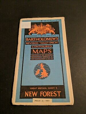 vintage BARTHOLOMEWS MAP PAPER SHEET 5 NEW FOREST   .,..