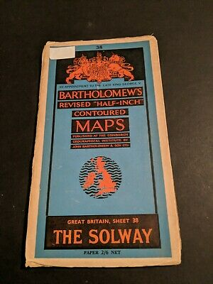 vintage BARTHOLOMEWS MAP PAPER SHEET 38 THE SOLWAY  .,..