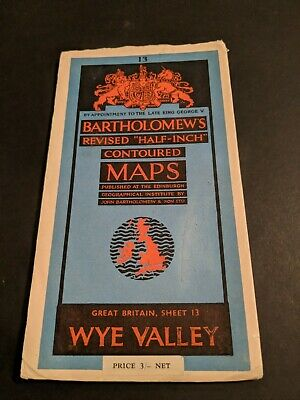 vintage BARTHOLOMEWS MAP PAPER SHEET 13 WYE VALLEY .,..
