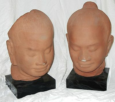 Fine CHINESE BUDDHIST Pair of GIGANTIC 30+lb NMC Terracotta Heads on bases