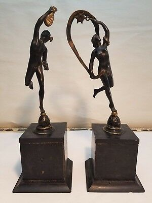 Pair of Beautiful Vintage Bronze Dancing Man and Woman Statues on Wood Stands