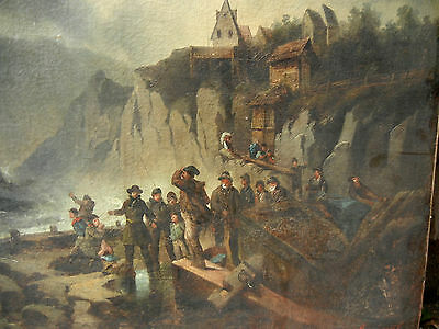 19thcentury/or older  Original European Oil painting on Canvas Signed/very rear