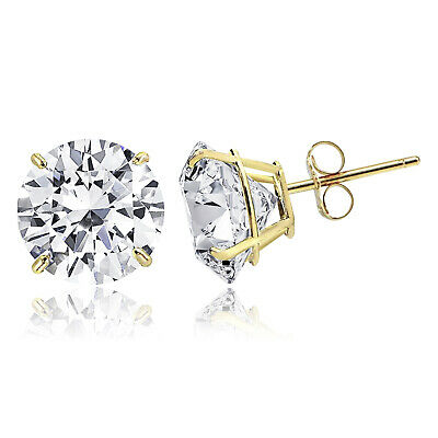 c341ac1b9 14K Solid Gold Round Solitaire Cut Cubic Zirconia Basket Push Back Stud  Earrings
