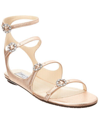 2ed38c69b33 JIMMY CHOO NAIA Crystal Buckle Metallic Leather Sandal -  329.99 ...