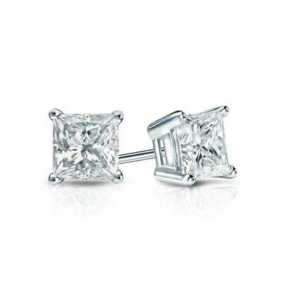 2 Ct Princess Cut Earrings Studs Solid Real 14K White Gold Basket Push Back