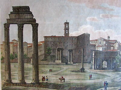 Italy Rome Roma Roman Forum 1840 antique engraved hand color print