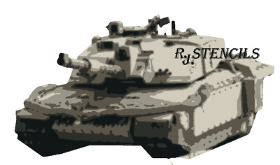 Multilayer STEP BY STEP airbrush stencil challenger tank  - A4