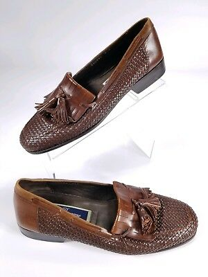 4f7f24a5e05 Cole Haan Bragano Mens Weave Kiltie Loafers Dress Shoes Brown Leather 8.5