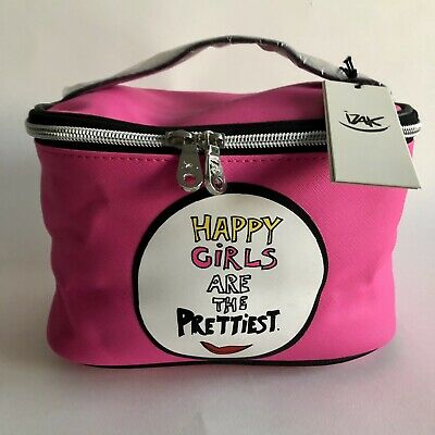 Designer Izak happy girls pink Cosmetic Makeup Bag brand new with tags!