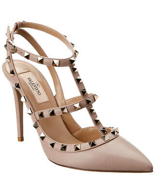 a0ce2ba23d VALENTINO ROCKSTUD CAGED Pumps In Light Ivory Pebbled Leather Size ...