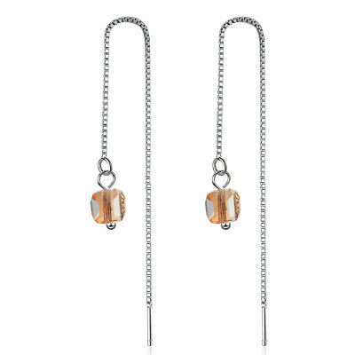 d9ba240c43b4a STERLING SILVER CLEAR Cube Crystal Drop Earrings Made with Swarovski ...