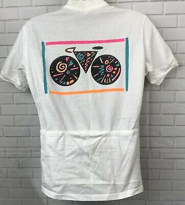 3d93a7675 Vtg 80s Trek White Cotton 1 4 Zip Cycling Jersey Neon Graphic Mens L Made