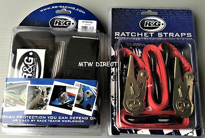 R&G RACING Motorbike Handlebar Tie Down bar Straps & Ratchets for Trailers