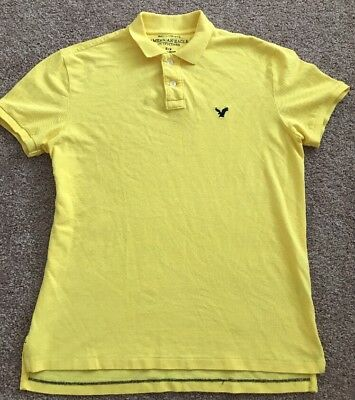 8e4853db American Eagle Outfitters Mens Yellow Athletic Fit Short Sleeve Polo Sz M