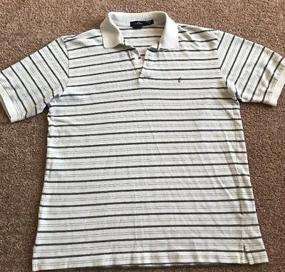 7eb6ad8515e Nautica Men's Polo Shirt Short Sleeves White Striped Cotton Blend Size Xl