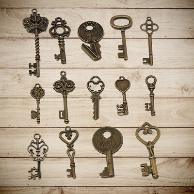 14 Assorted Antique Vintage Old Look Large Skeleton Bronze Keys Pendants Set //
