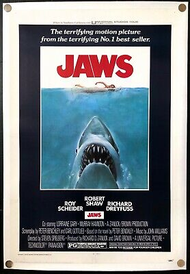 "Jaws 1975 Original Movie Poster One Sheet Linen Backed 27"" x 41"" C8 Excellent"