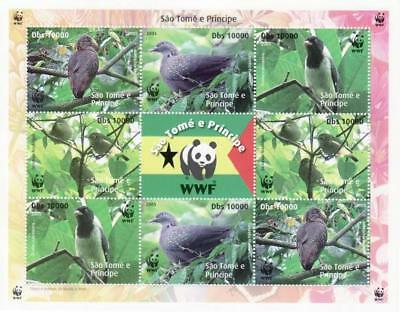 St Thomas - WWF & Birds on Stamps - 8 Stamp Sheet - 19A-100