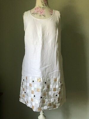 4ed2def4561 See By Chloe Sequin Dress White Mini Dress Mini Cotton Linen Sequined Sz  40 4