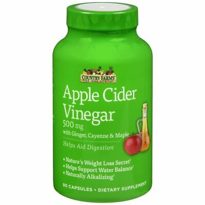 Country Farms Apple Cider Vinegar Dietary Supplement Capsules - 90 CP (2 Packs)