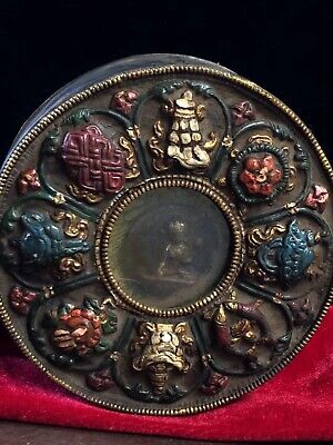 Chinese Antique Tibetan temple collection old copper hand-painted Kwu box