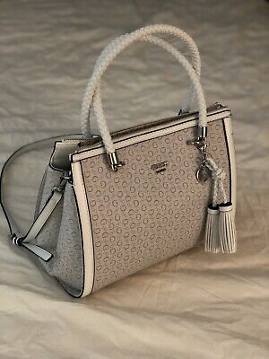 ebcee54fefaf GUESS HANDBAG WHITE Grey Satchel Very Very Chic! NWT Rope Design ...