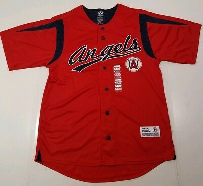 1aa8f1a2afc MLB Los Angeles Angels Dynasty Baseball Jersey Front Button Men s M NWOT  LAA Red
