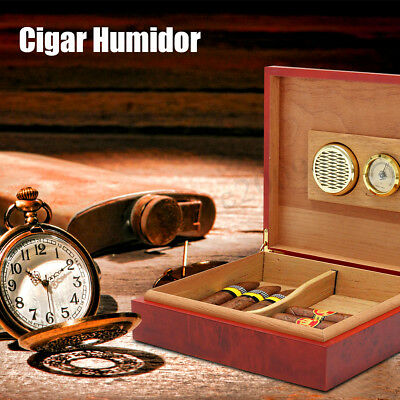 20-25 Cigars Cedar Wood Cigar Desktop Humidor With Hygrometer Humidifier Holds !