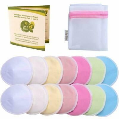 Baby Bliss Organic Bamboo Nursing Pads | 14-Pack + Laundry Bag | 2 Sizes + Conto
